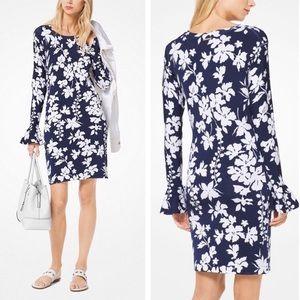 Michael Kors Tropical Flower Bell Sleeve Dress